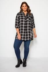 Black, White & Bronze Metallic Check Shirt