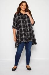 Black & White Check Shirt With Extreme Dipped Hem