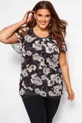 Black & White Floral Print Mesh Top