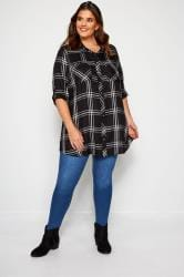 Black & White Metallic Check Boyfriend Shirt
