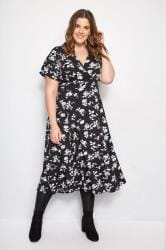 Black & White Mini Floral Midi Wrap Dress