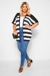 Black & White Stripe Pointelle Cocoon Cardigan
