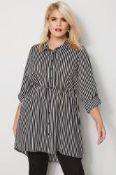 Black & White Striped Longline Shirt