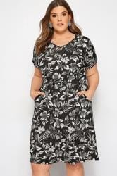 Black & White Tropical T-Shirt Dress