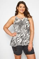 Black & White Zebra Print Cross Front Vest Top