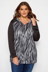 Hoodie mit Zebra-Muster - Schwarz