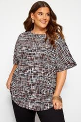 Black and White Crosshatch Keyhole Back Top
