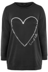 Black Slogan Foil Heart Print Sweatshirt