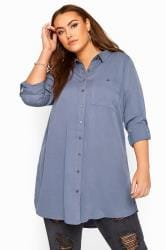 Blue-Grey Oversized Boyfriend Shirt