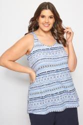 Blue Bow Back Tile Print Vest Top