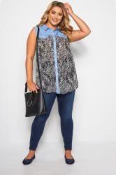 Blue Denim Animal Print Sleeveless Shirt