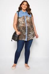Blue Denim Leopard Print Sleeveless Shirt