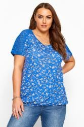 Blue Ditsy Floral Crochet Lace Bubble Hem Top