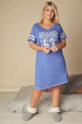 Blue 'Dreamer' Slogan Print Nightdress