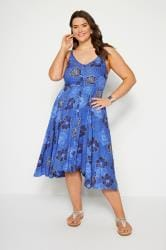 Blue Floral Hanky Hem Dress