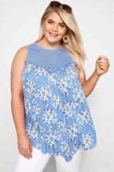 Blue Floral Lace Vest Top