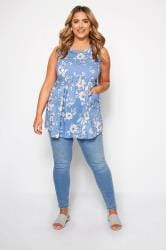 Blue Floral Sleeveless Pocket Top
