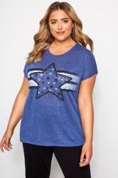 Blue Marl Star Print T-Shirt