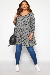 Grey Marl Star Print Top
