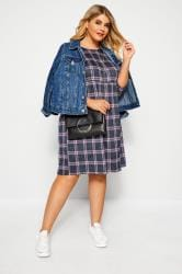 Blue & Pink Jacquard Check Smock Dress
