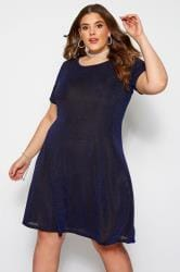 Blue Sparkle Swing Dress
