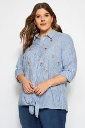 Blue Stripe Tie Front Embroidered Shirt