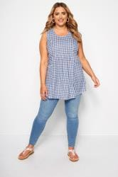 Blue & White Checked Pocket Blouse