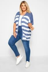 Blue & White Stripe Pointelle Cocoon Cardigan