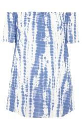 Blue & White Tie Dye Crinkle Bardot Tunic