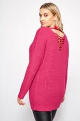 Bright Pink Lattice Back Knitted Jumper