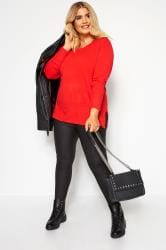 Bright Red Fine Knit Cashmilon Jumper