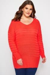 Pullover im Streifen-Muster - Rot