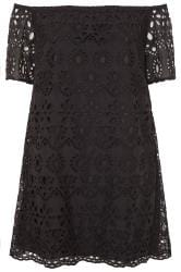 Black Broderie Anglaise Bardot Dress