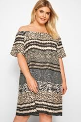 Brown Mixed Animal Print Bardot Dress