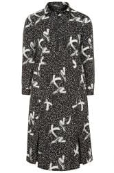 Black Brush Stroke Spot Shirt Dress