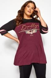Burgundy & Gold Glitter 'Brooklyn' Slogan Varsity Top