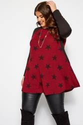 Burgundy Marl Star Print Longline Top