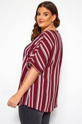 Burgundy Striped Shell Top