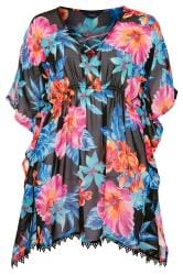 Black Caribbean Floral Print Cover Up