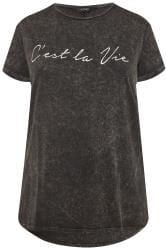 Grey Acid Wash 'C'est La Vie' Slogan T-Shirt