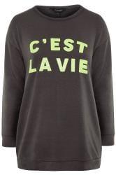 """Sweatshirt mit """"c'est la vie"""" Schriftzug - Grau/Neon-Grün"""