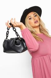Black Ruched Chain Shoulder Bag