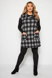 Black Check Cowl Neck Tunic Dress
