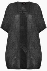 Black Pointelle Cocoon Cardigan