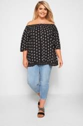Black Tile Print Bardot Top