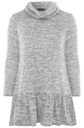 Grey Marl Peplum Tunic