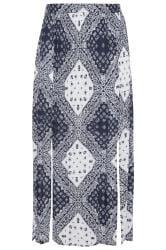 White & Blue Tile Print Split Maxi Skirt