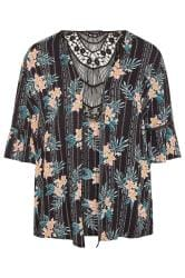 Black Floral Aztec Crochet Cover Up