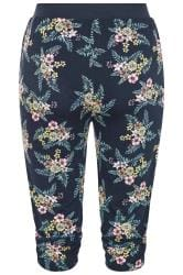 Navy Floral Cropped Harem Trousers