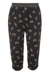 Black Leopard Cropped Harem Trousers